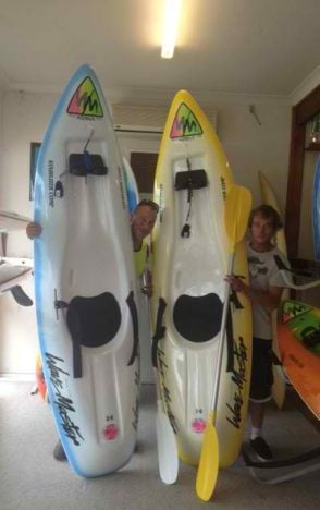 Byron and Stuart from Bundeena with there new Wavemaster 2.6 stablizer comp wave skis
